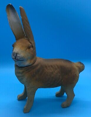 Antique German Paper Mache Easter Rabbit Candy Container Wood Legs Glass Eyes