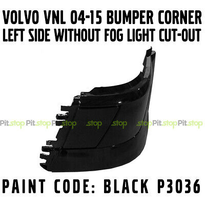 Volvo Vnl 04-16 Bumper Corner Without No Fog Light Painted Black P3036 Left Side