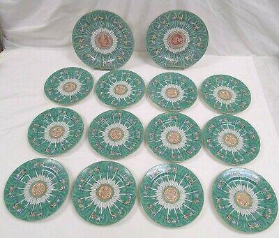 Chinese Export Porcelain Famille Verte Cabbage Butterfly 14 Plates