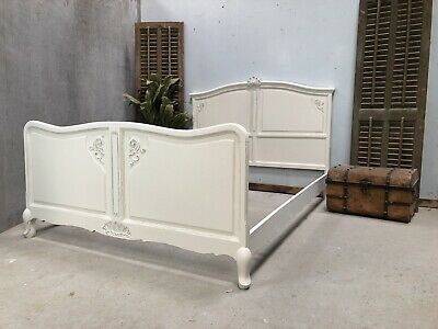 Vintage French Double size bed/ Painted French bed shabby chic style