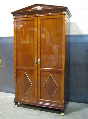 Kindel Furniture Neoclassic Mahogany Armoire With Hanging Rod; Paw Gilt Accents