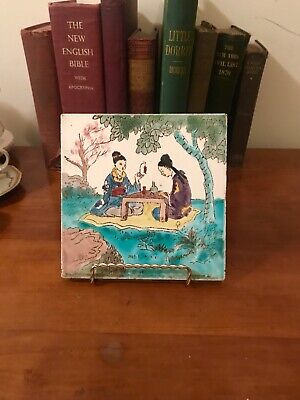 Antique Chinese Hand Painted TILE Ladies IN THE GARDEN  gorgeous colors