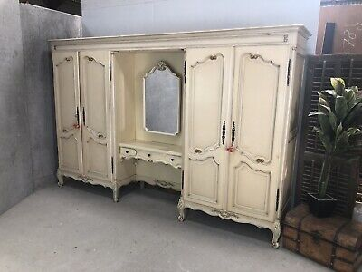 Vintage French Wardrobe / 4 Door Dressing Armoire/  Painted Shabby chic style