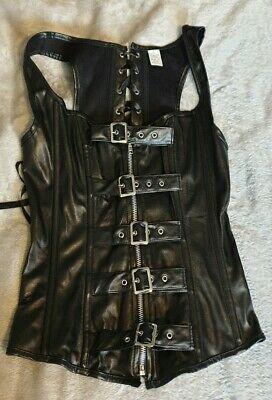 New Corset Gothic Faux Leather + Thongs, sz S