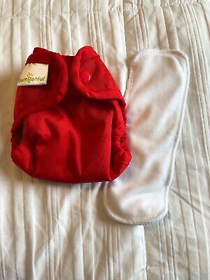 BumGenius Newborn Size Cloth Diaper 2.0 W/ Doubler - NB XS Little Pepper Red