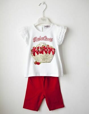 Girls Cotton White Top And Red Trousers Set by Italian designer Rubacuori