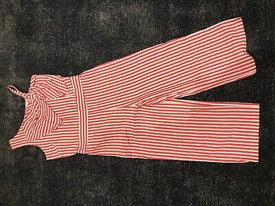 M&s Girls Stripe Playsuit Red And White Age 9-10