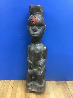 Primitive Antique African Folk Art CHIEF Carved Wood
