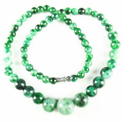 Natural Green Moss Agate Round Ball Pendant Necklace 17.5 inch S55811