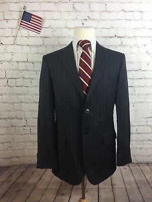 Joseph Abboud Men's Gray Stripe SUPER 120'S WOOL Blazer Suit Jacket 40R $795