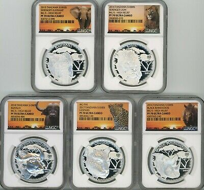 2014-2018 Tanzania 1 oz Silver Big 5 Complete 5 piece Silver Proof Set NGC PF 70