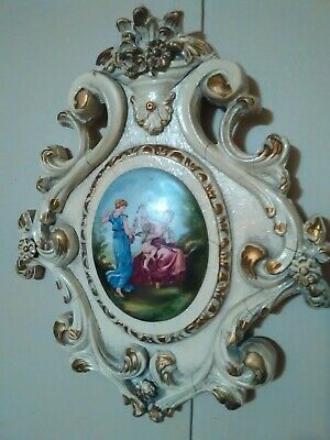 Vintage Hand Carved Wood  and plaster Fancy Women Cameo Wall Art