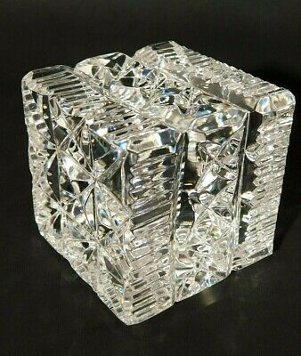 Waterford Crystal Cube Square Block Paperweight Ireland MINT