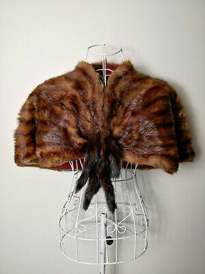 Stunning Vintage Original 1940's Fut Capelet with Tails, Perfect Condition!