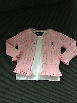 Genuine Ralph Lauren Baby Girls T-shirt and Cardigan Bundle 9mths