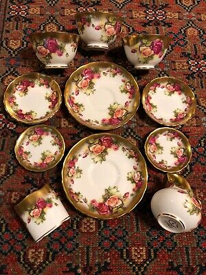 """Lot Of 11 Pieces Royal Chelsea """"Golden Rose"""" Bone China Items England"""