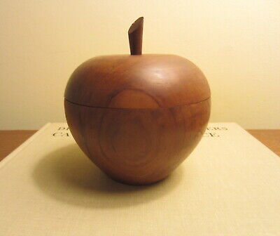 Mid Century Modern Hand Carved Walnut Wooden Apple Box