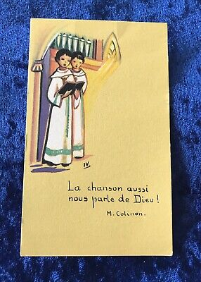 Vintage Antique Belgium Alter Boys Art Religious Holy Prayer Card Catholic Vtg