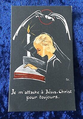 Vintage Antique Belgium Church Study Religious Holy Prayer Card Catholic Vtg