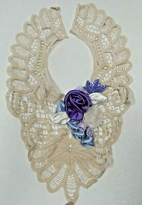 Embellished Detachable Lace Collar With Ribbon Roses Blue~White ~Lavender Roses