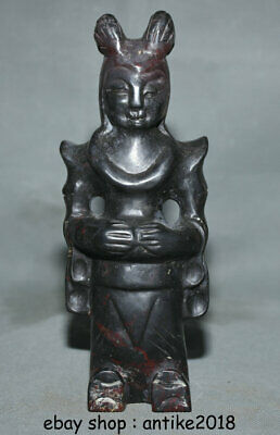 """7.6"""" China Hongshan Culture Jade(Black Magnet)Carved Woman Person Figure Statue"""