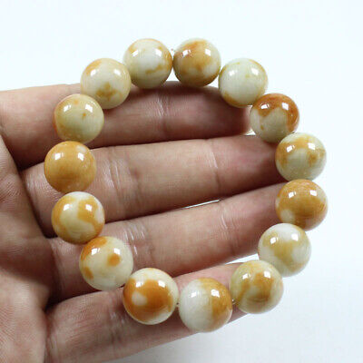 Certified Grade A Natural Brown Yellow Jadeite Jade 14mm catenary Bracelet Z729