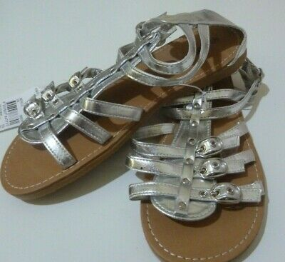 BNWT Miss Understood Girl's Sandals Shoes Silver Gladiator Style