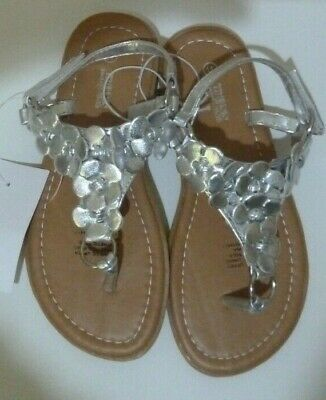 BNWT Miss Understood Girl's Sandals Shoes Silver Fancy Front Panel