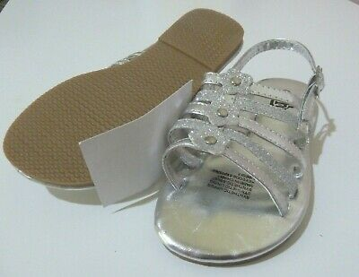 BNWT H&T KMart Girl's Sandals Shoes Silver Fancy Front with Glitter Flowers