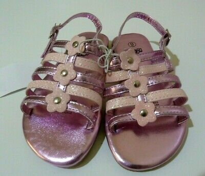 BNWT H&T KMart Girl's Sandals Shoes PINK Fancy Front with Glitter Flowers