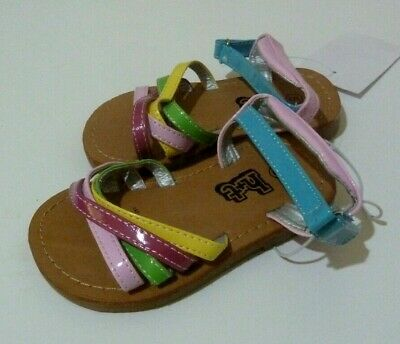 BNWT H&T KMart Girl's Kids Sandals Shoes Pink Yellow Green Blue Pretty Woven