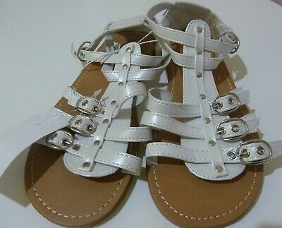 BNWT Miss Understood Girl's Sandals Shoes White Gladiator Style