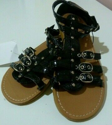 BNWT Miss Understood Girl's Sandals Shoes Black Snakeskin Gladiator Style