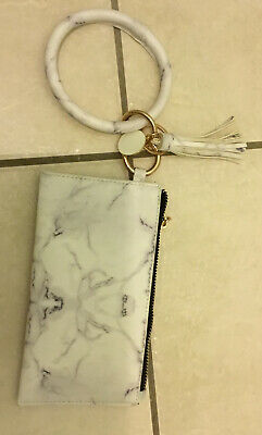 Leather Bracelet Key ring Wristlet Tassel Bag Boho New .Marble Bangle Keychain