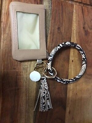 Leather Bracelet Key ring Coin Purse Tassel  Boho New  Wristlet Bangle Keychain