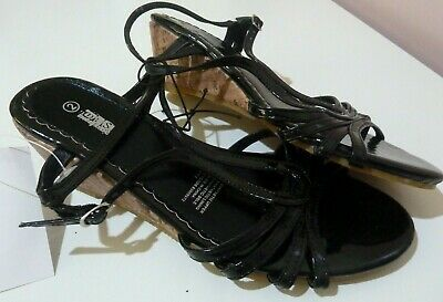 BNWT Miss Understood Girl's Sandals Shoes Black Wedge Heel Dressy