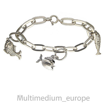 Vintage Silber Fisch Armband Anhänger sterling silver fish charms 🌺🌺🌺🌺🌺