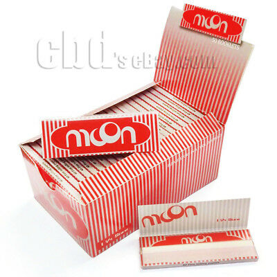 1 box 50 booklets Moon Red Wood Cigarette Rolling Papers 77*45mm 2000 leaves