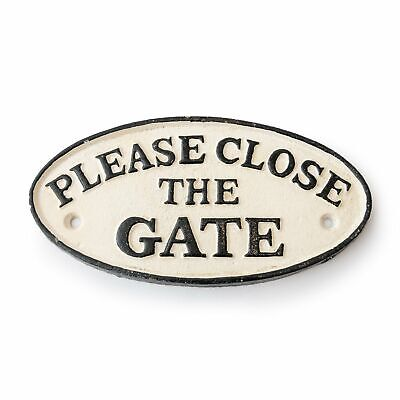 Close The Gate Cast Iron Oval Sign Plaque Wall Hanging Home Garden Decor 17x9cm