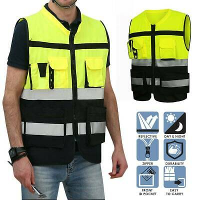 High Visibility Safety Zipper Reflective Jacket Security Working Waistcoat Hot