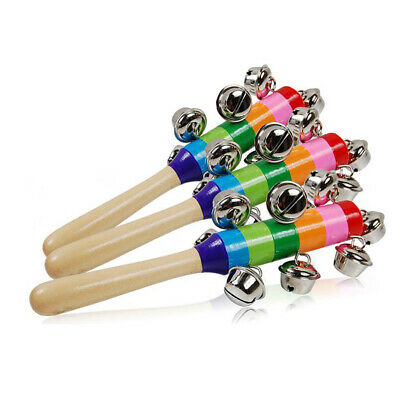 Baby Kids Rainbow Wooden Handle Bell Jingle Stick Shaker Rattle Toys AT Gift UK