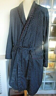 Men Cotton Dressing Gown Size Large Blue Polkadot  Lined Robe Smoking Jacket M&S