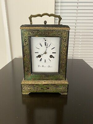 French Green Boulle  Carriage/Mantel  clock Henri Marc a Paris