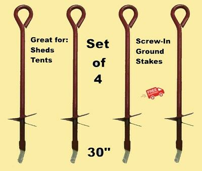 """Steel 3/"""" Diameter tie down tarps tents shed Screw In Earth Anchor 30/"""" Length"""