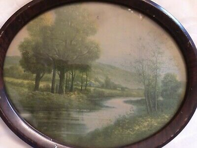 VINTAGE TIGER STRIPE  TIN OVAL PICTURE FRAME WITH SCENIC  PICTURE 9 x 11