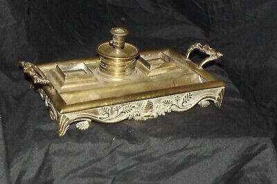 Antique EARLY ENGLISH 19th Century Brass Inkwell STAND BEE HIVE TO FRONT