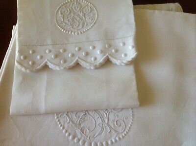 Vintage Italian Fine Embroidered Linen 1 Bed Sheet & 1 Pillow Case W/ 3 Initals
