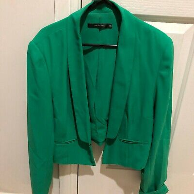 Portmans Green Women's Long-Sleeved Cropped Polyester Jacket Size 16