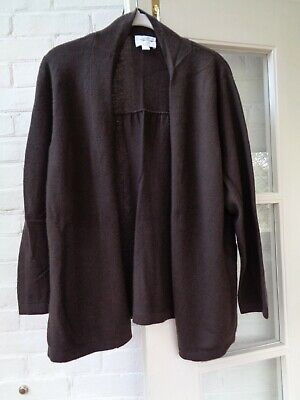 Charter Club Women's Brown 100% 2-Ply Cashmere Open Front Cardigan Sweater Large