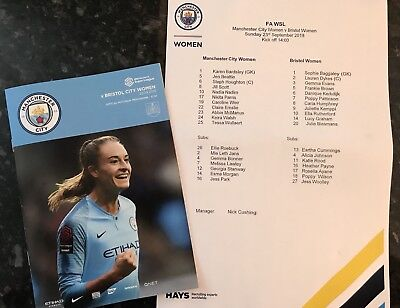 Man City Womens V Bristol City Ladies 23.09.2018 Programme + Teamsheet * Mint *